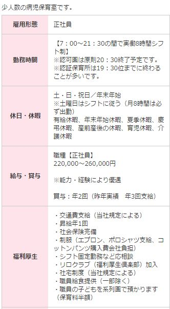 月給26万円の病児保育求人
